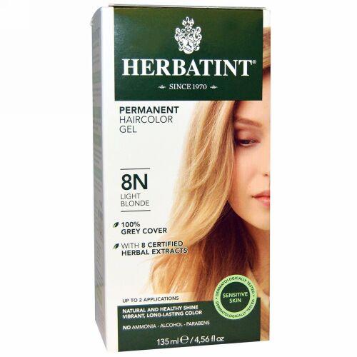 Herbatint, パーマネント ハーブへアカラージェル(Permanent Herbal Haircolor Gel), 8N, 薄いブロンド(Light Blonde), 4.56液量オンス(135 ml)