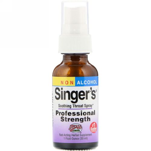 Herbs Etc., Singer's喉緩和スプレー、ノンアルコール、1液量オンス (30 ml)