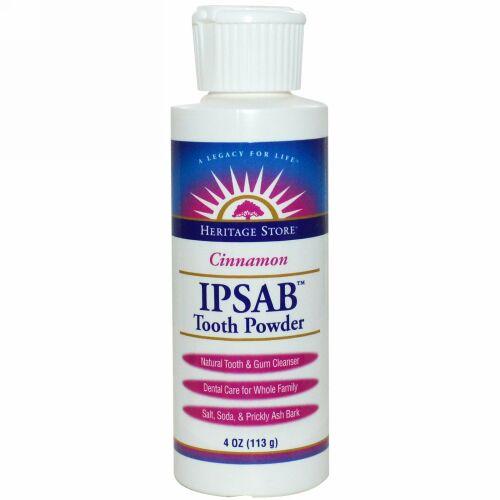 Heritage Store, IPSAB™ 歯磨きパウダー、シナモン味、4オンス(113 g) (Discontinued Item)