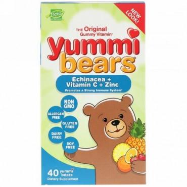 Hero Nutritional Products, ヤミーベアーズ、 エキナシア+ビタミンC+亜鉛、グミベア40個