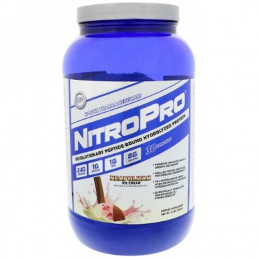 Hi Tech Pharmaceuticals, NitroPro, Hydrolyzed Protein, Neapolitan Ice Cream, 2 lbs (907 g) (Discontinued Item)