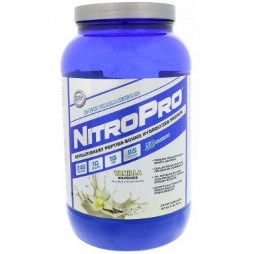 Hi Tech Pharmaceuticals, ニトロプロ、加水分解プロテイン、バニラミルクシェイク、2 lbs (907 g) (Discontinued Item)