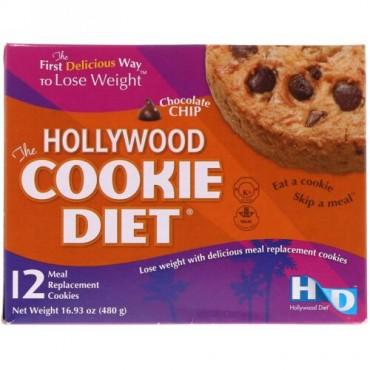 Hollywood Diet, ハリウッドクッキーダイエット、 チョコレートチップ、 食事代用クッキー12枚 (Discontinued Item)