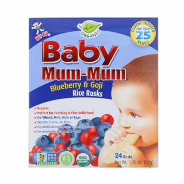 Hot Kid, Baby Mum-Mum、オーガニックライスラスク、ブルーベリー&ゴジのライスラクス、24枚、各17.6 oz (50 g)