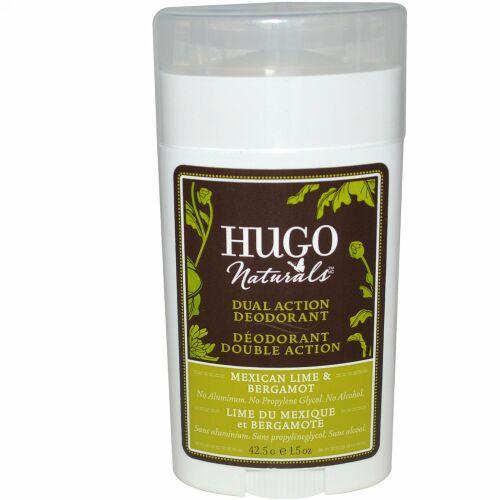 Hugo Naturals, デュラル・アクション・デオドラント、メキシカン・ライム & ベルガモット、1.5オンス (42.5 g) (Discontinued Item)