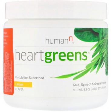 HumanN, ハートグリーンズ、血行を促進するスーパーフード、レモン味、5.3 oz (150 g) (Discontinued Item)