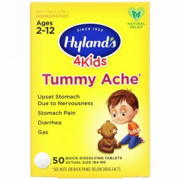 Hyland's, 4Kids, Tummy Ache, Ages 2-12, 194 mg, 50 Quick-Dissolving Tablets