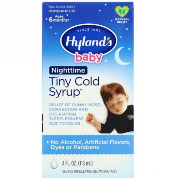Hyland's, Baby, Tiny Cold Syrup, Nighttime, Ages 6 Months+, 4 fl oz (118 ml)