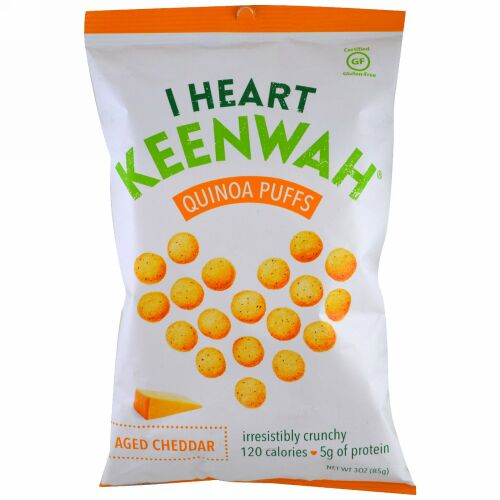 I Heart Keenwah, キヌアパフ, 熟成チェダーチーズ, 3 oz (85 g) (Discontinued Item)