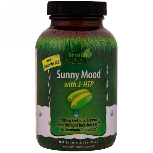 Irwin Naturals, Sunny Mood with 5-HTP, Plus Vitamin D3, 80 Liquid Soft-Gels
