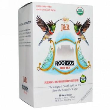 J&R Port Trading Co., ピュアルイボスレッドティー(Pure Rooibos Red Tea), カフェインフリー, 40ティーバッグ, 3.53オンス(100 g)