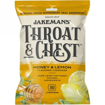 Jakemans, 喉・胸用、ハニーとレモン味、30ロゼンジ