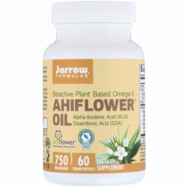 Jarrow Formulas, Ahiflower Oil, 750 mg, 60 Vegan Softgels
