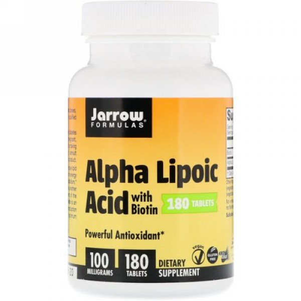 Jarrow Formulas, Alpha Lipoic Acid with Biotin, 100 mg, 180 Tablets