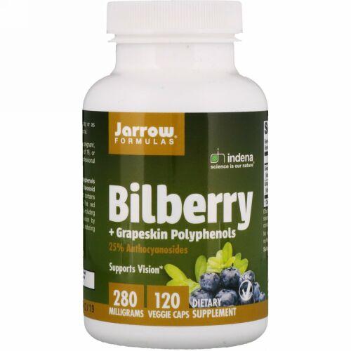 Jarrow Formulas, Bilberry + Grapeskin Polyphenols、280 mg、植物性カプセル 120粒