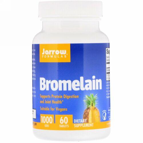 Jarrow Formulas, ブロメライン1000、500 mg,、60 Easy-Solv錠