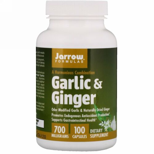 Jarrow Formulas, ニンニク&ショウガ, 700 mg, カプセル 100粒