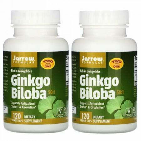 Jarrow Formulas, 50:1のイチョウ(Ginkgo Biloba), 60 mg, 2ボトル, 各120粒(ベジタリアンカプセル)
