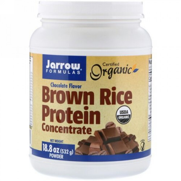 Jarrow Formulas, Organic, Brown Rice Protein Concentrate, Chocolate, 18.8 oz (532 g) (Discontinued Item)