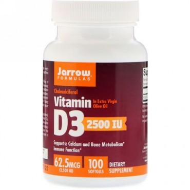 Jarrow Formulas, ビタミンD3、コレカルシフェロール、2,500 IU、ソフトジェル100錠