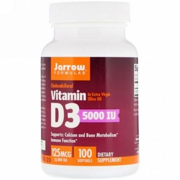 Jarrow Formulas, ビタミンD3、コレカルシフェロール、5,000 IU、ソフトジェル100錠