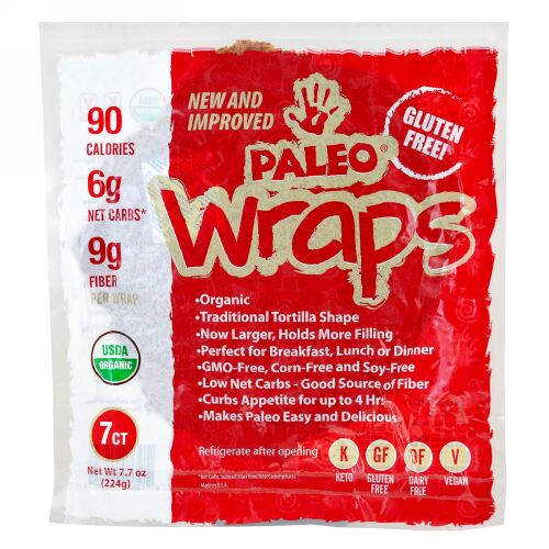 Julian Bakery, Organic Paleo Wraps、 7本、 7.7 oz (224 g)