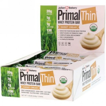 Julian Bakery, PrimalThin(プライマルシン)ホエイタンパク質バー、スイートクリーム、12本、648g(1.43lbs)