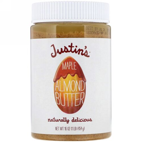 Justin's Nut Butter, メープル アーモンド バター、16オンス(454 g) (Discontinued Item)