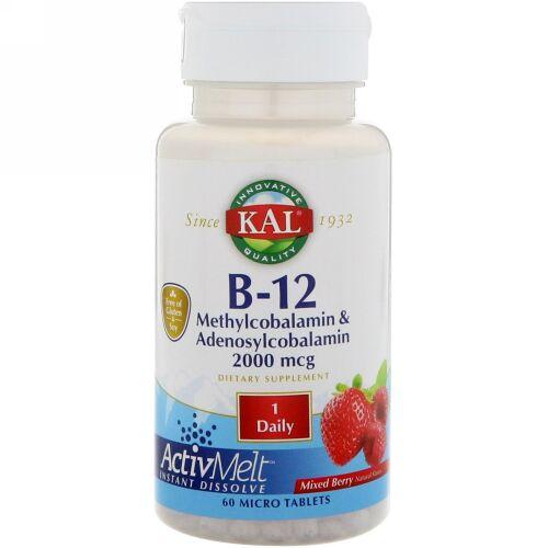 KAL, B-12メチルコバラミン&アデノシルコバラミン、ActivMelt(アクティブメルト)、ミックスベリー、2000mcg、マイクロタブレット60粒