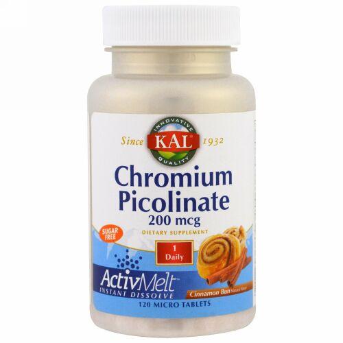 KAL, ピコリン酸クロムアクティブメルト, シナモンロール, 極小錠剤120錠 (Discontinued Item)