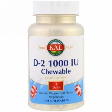 KAL, D2、ナチュラルペパーミント味、1000 IU、チュアブル錠 100 錠 (Discontinued Item)