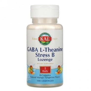 KAL, GABA L‐テアニンストレス B トローチ、ナチュラルマンゴータンジェリン味、トローチ 100 粒