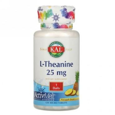 KAL, L-テアニン, アクティブメルト, パイナップルドリーム, 25 mg , 極小錠剤120錠 (Discontinued Item)