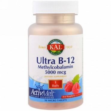 KAL, ウルトラB-12 メチルコバラミン, レッドラズベリー, 5000 mcg, 極小錠剤90錠 (Discontinued Item)