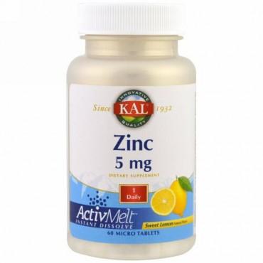 KAL, 亜鉛, スイートレモン, 5 mg , 極小錠剤60錠