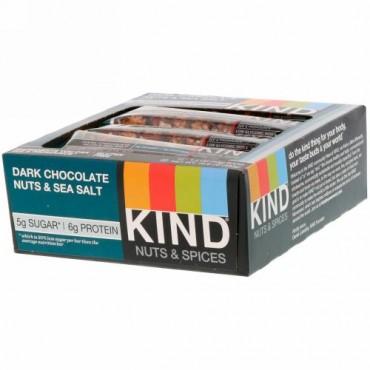 KIND Bars, ナッツ&スパイス、ダークチョコレートナッツ&シーソルト、12本、各1.4オンス (40 g)