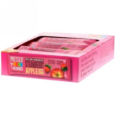 KIND Bars, Pressed by KIND, Strawberry Apple Cherry Chia, 12 Fruit Bars, 1.2 oz (35 g) Each