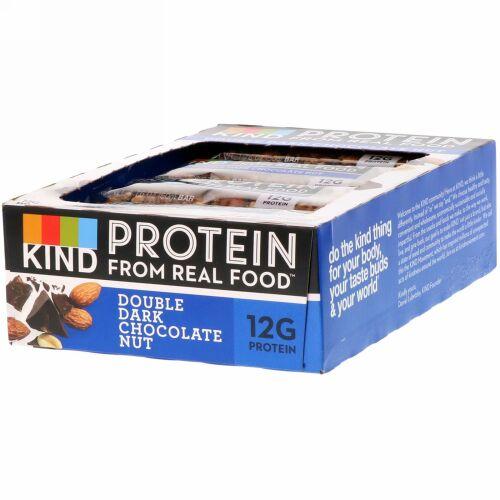 KIND Bars, プロテインバー、ダブルダークチョコレートナッツ、 12本、各1.76 oz (50 g)