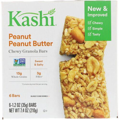 Kashi, チューイー・グラノーラバー, ピーナッツ ピーナッツバター, 6 本, 各 1.2 オンス (35 g)