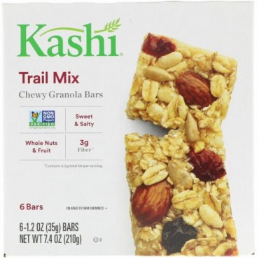 Kashi, 噛みでがあるグラノーラバー, トレイルミックス, 6バー, 1.2オンス (35g)