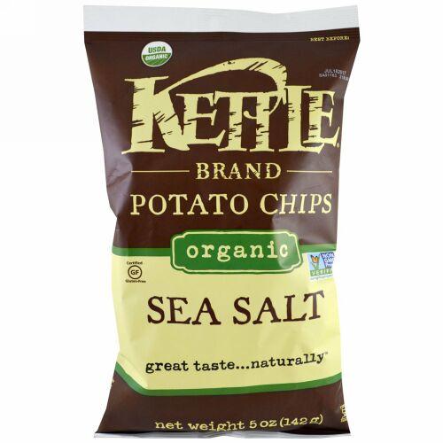 Kettle Foods, オーガニックポテトチップス、海塩、5 oz (142 g)