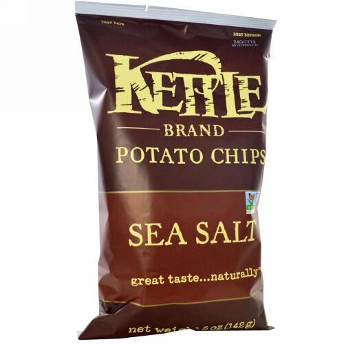 Kettle Foods, ポテトチップ, 海塩, 5オンス (142 g)
