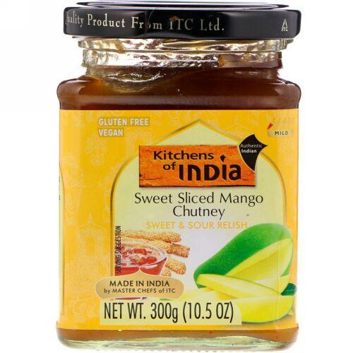 Kitchens of India, Sweet Sliced Mango Chutney, Sweet & Sour Relish, Mild, 10.5 oz (300 g) (Discontinued Item)