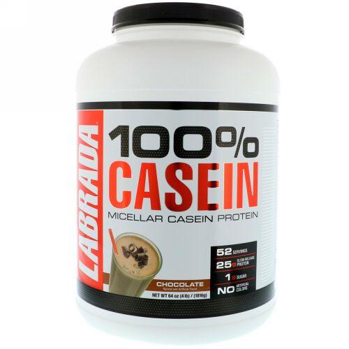 Labrada Nutrition, 100%カゼイン、チョコレート、4ポンド (1816 g) (Discontinued Item)