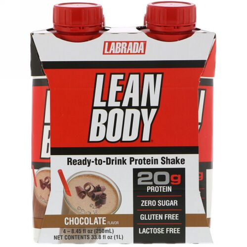 Labrada Nutrition, リーンボディ、すぐに飲めるプロテインシェイク、チョコレート、4本、各8.45液量オンス(250ml) (Discontinued Item)