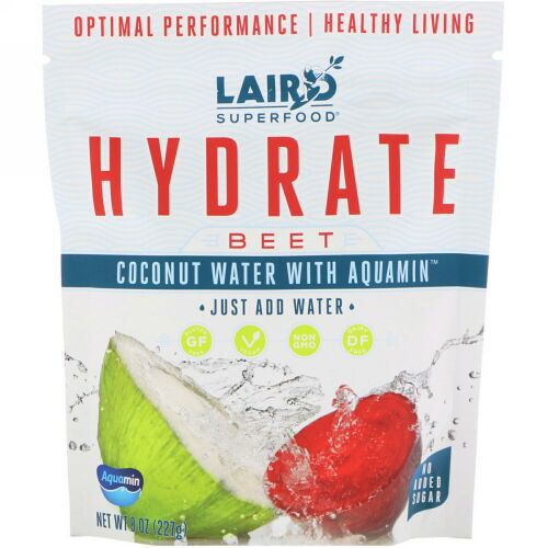 Laird Superfood, Hydrate, Beet, Coconut Water with Aquamin, 8 oz (227 g) (Discontinued Item)