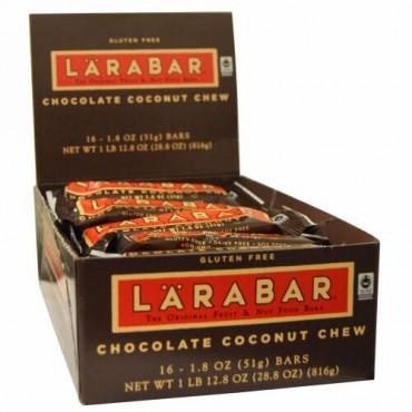 Larabar, オリジナルフルーツ&ナッツ フードバー、チョコレートココナッツチュー、16本入、1本あたり1.8オンス (51 g) (Discontinued Item)