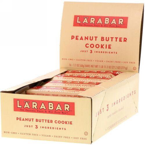 Larabar, The Original Fruit & Nut Food Bar, Peanut Butter Cookie, 16 Bars, 1.7 oz (48 g) Each