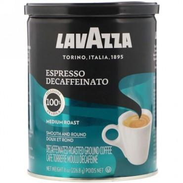 LavAzza Premium Coffees, カフェイン抜き挽きコーヒー豆, エスプレッソ, 8 オンス (226.8 g) (Discontinued Item)