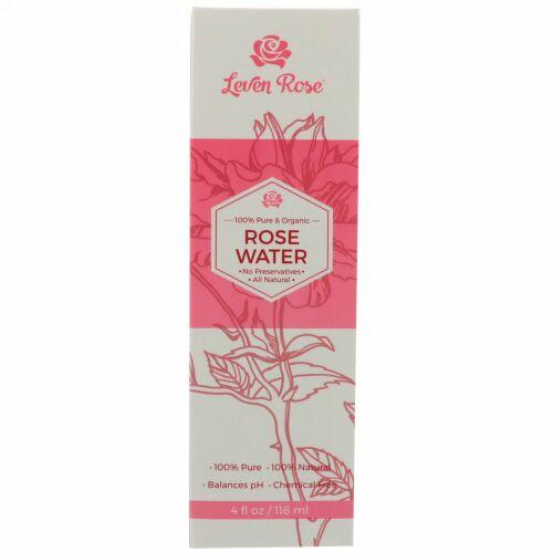 Leven Rose, 100%ピュア・オーガニックローズウォーター, 4液量オンス (118 ml)